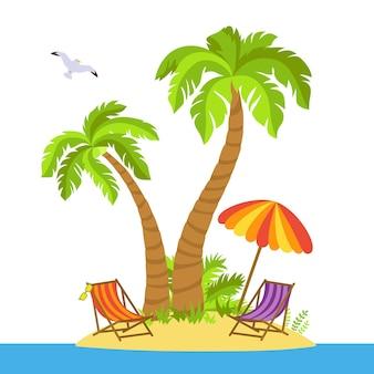 Тропический пляж плоский мультяшный остров