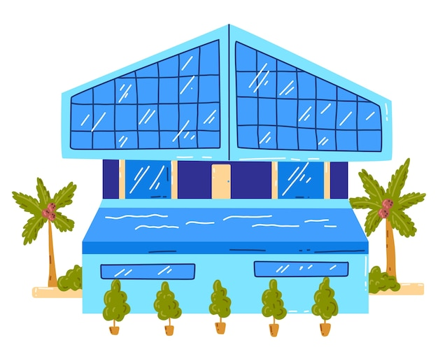 Tropical beach house, active, hot summer vacation, seaside hut, design cartoon style illustration, isolated on white. green palm tree near cottage, rest on island, cozy wooden bungalow building