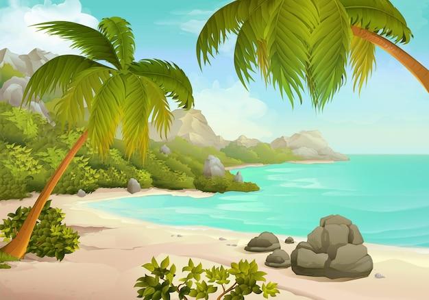 Иллюстрация тропического пляжа