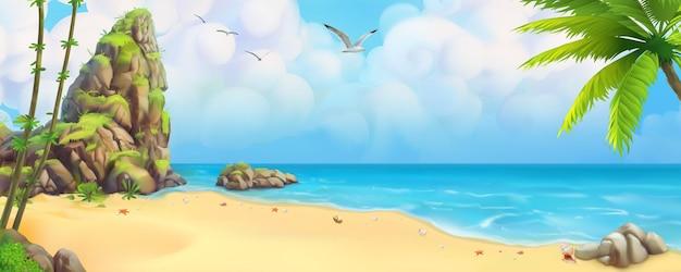 Тропический пляж с панорамным видом