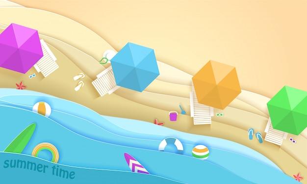 Тропический пляж в стиле бумажного искусства. вид сверху бумаги вырезать иллюстрации. шаблон плаката концепции летнего отдыха. ремесло оригами.