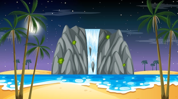 Tropical beach landscape at night scene with waterfall