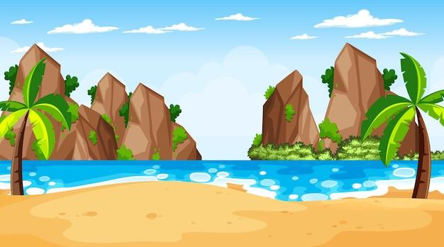 낮 시간에 열 대 해변 풍경 장면