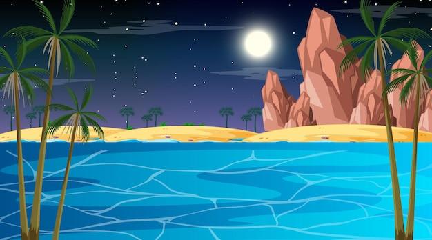 밤에 열 대 해변 풍경 장면