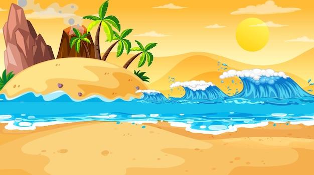 Сцена пейзажа тропического пляжа во время заката