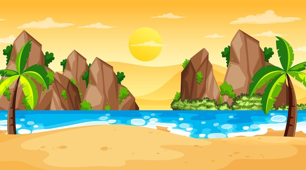 일몰 시간에 열 대 해변 풍경 장면