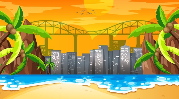 Tropical beach landscape scene at sunset time with cityscape