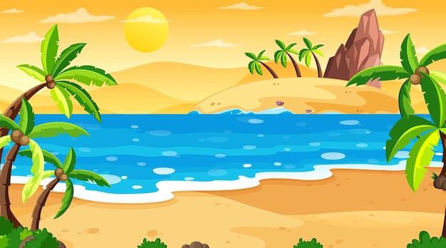 Tropical beach landscape scene at sunset time