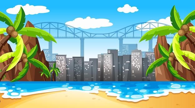 Tropical beach landscape scene with cityscape