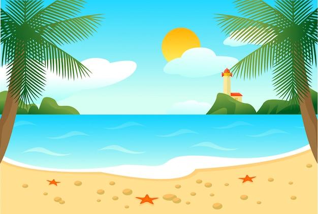 熱帯のビーチの風景テンプレート