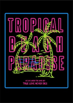 Tropical beach palm island illustration with 80's retro wave illustration