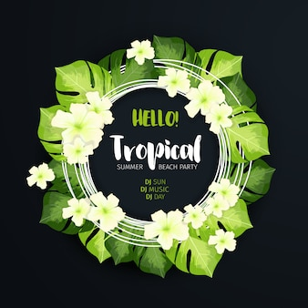 Tropical beach party circle banner
