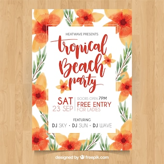 Tropical beach party poster with pretty watercolor flowers