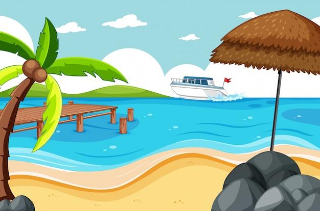 Spiaggia tropicale e spiaggia di sabbia in stile cartone animato scena