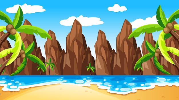Tropical beach scene with cliff