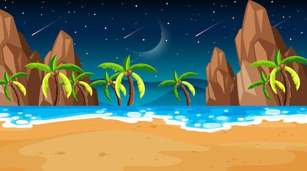 밤에 많은 야자수와 열 대 해변 장면