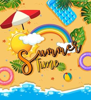 夏の時間のテキストバナーと熱帯のビーチのシーン