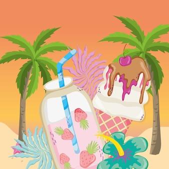 Tropical beach scenery theme cartoon
