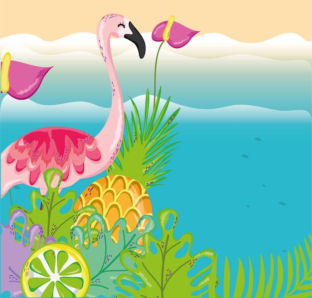 Tropical beach scenery theme cartoon