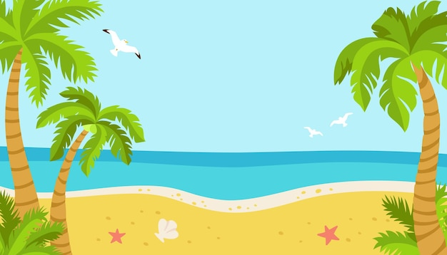Tropical beach summer background, palm trees and seagulls sea sand ocean island flat cartoon.
