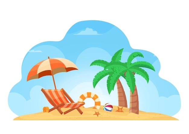 의자, 우산, 슬리퍼, 구명 반지, 코코넛 나무, 공, 불가사리가 있는 열대 해변 여름 배경. 여름 휴가 휴가 개념의 디자인.