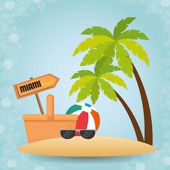 熱帯のビーチの夏のシーンのベクトル図のデザイン