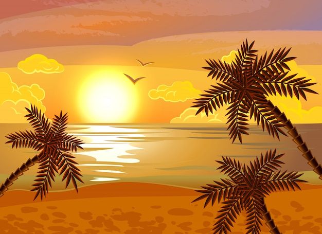 Tropical beach sunset poster
