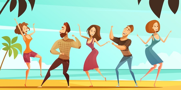 Tropical beach vacation party poster with men and women dancing poses with ocean background