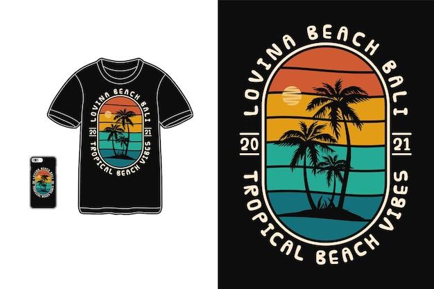 Силуэт тропического пляжа для дизайна футболки