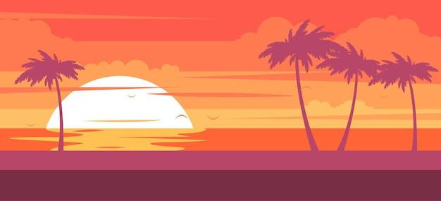 ヤシの木と海のある熱帯のビーチ-日没時のサマーリゾート