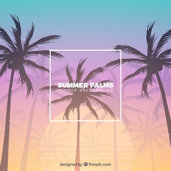 Тропический пляж с пальмами и градиентом фона