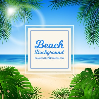 Tropical beach with realistic design