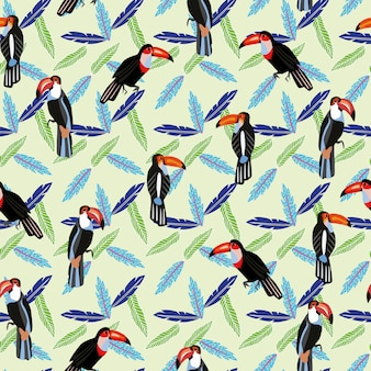 Tropical bird toucan in the jungle seamless pattern wallpaper