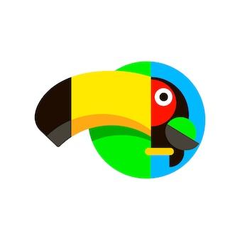 Tropical bird toucan logo in flat style vector illustration