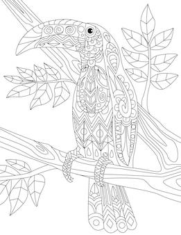 熱帯の鳥が木に落書きペリカン線画像フラミンゴの木イラスト野生