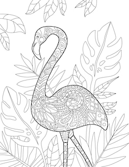 Tropical birds doodles on trees hand drawing pelican line image flamingo tree illustration wild