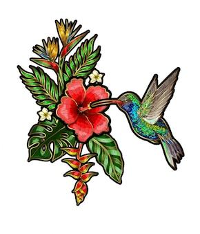 花と葉のある熱帯の鳥の刺繍パッチ。ハチドリの刺繍。
