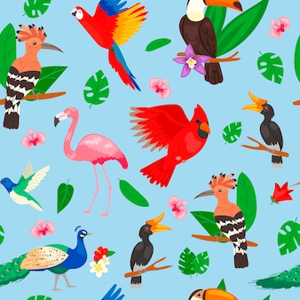 Tropical birds, jungle summer seamless pattern
