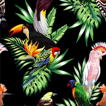 Tropical birds and palm leaves seamless black pattern