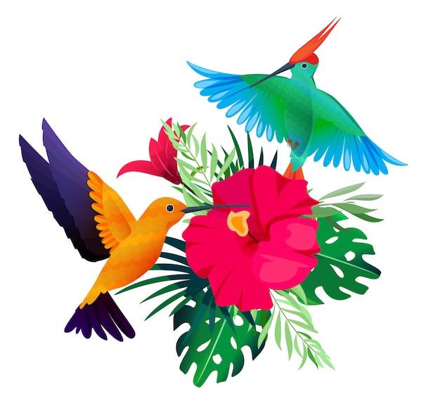熱帯の鳥の植物。オウムとハチドリの葉と花の上に座ってエキゾチックな色付きの背景