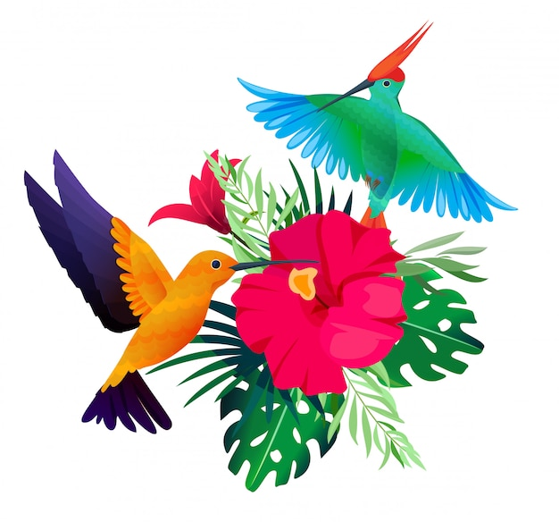 Tropical birds plants. exotic colored background with parrots and hummingbirds sitting on leaves and flowers
