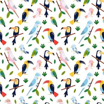 熱帯の鳥-シームレスなパターンデザイン
