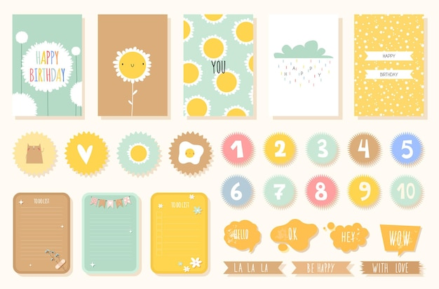 Tropical birthday card with numbers and stickers with cute animals for nursery in a scandinavian style in pastel colors