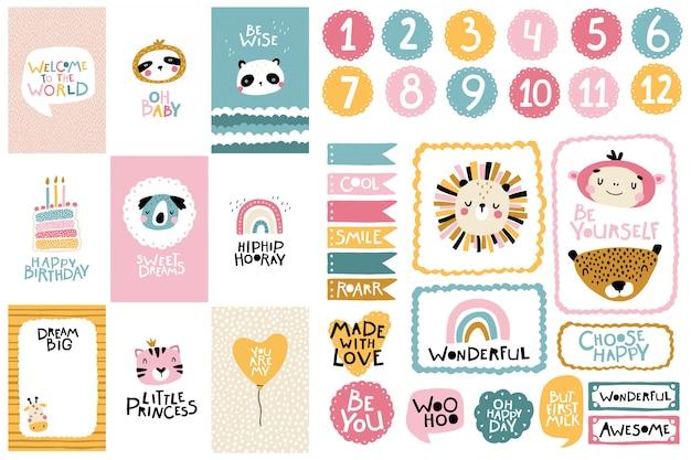 熱帯の誕生日コレクション。カード番号、ポスター、テンプレートフレーム。北欧風の保育園のレタリングが付いている動物のかわいい顔。パステルカラーの漫画イラスト