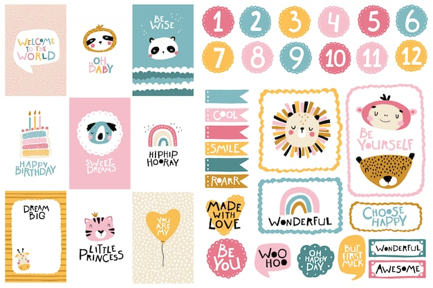 Tropical birthday collection. card numbers, posters and template frames. cute face of an animal with lettering for nursery in a scandinavian style. cartoon illustration in pastel colors