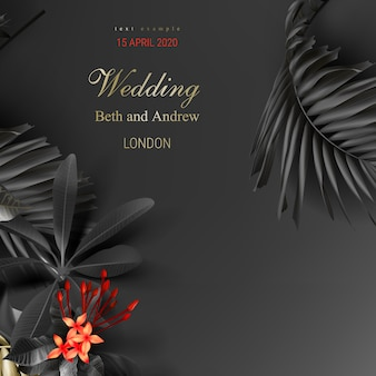 Tropical black and gold leaves on dark background vector poster