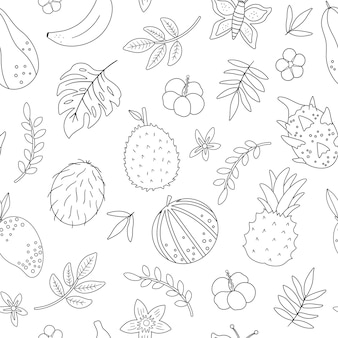 Tropical black and white seamless pattern with fruit flowers and leaves