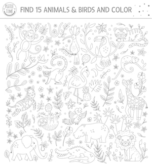 Tropical black and white searching game for children with cute funny characters. find hidden animals and birds in the jungle and color. fun coloring page for kids