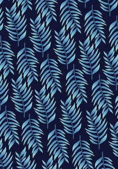 Tropical blue leafs pattern background  illustration