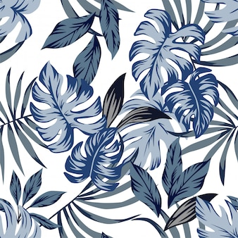 Tropical blue leaves seamless pattern